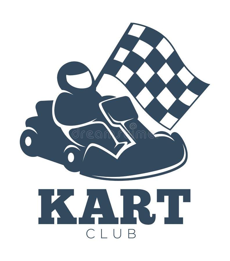 Kart club promotional monochrome emblem with racer in helmet royalty free illustration