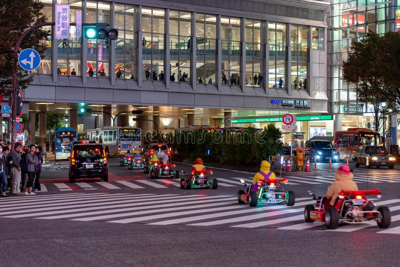 Kart de Mario no distrito de Shibuya no Tóquio, Japão imagem de stock royalty free