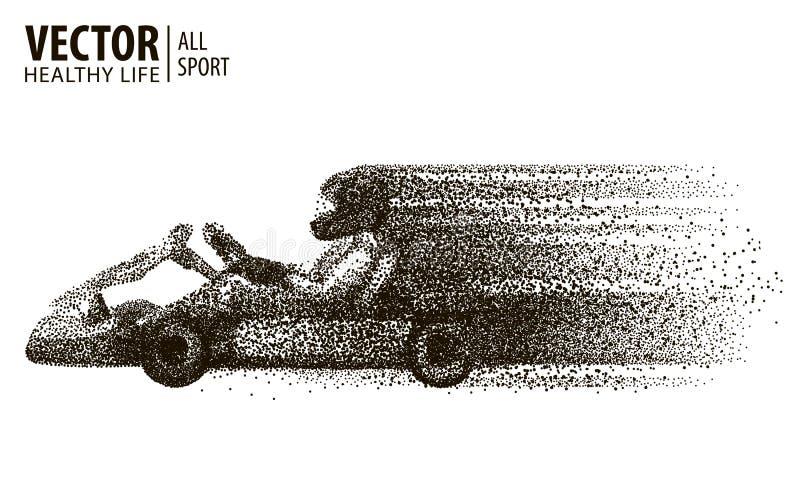 Kart que compete o vencedor arting Em um fundo branco campeão Carro que vem primeiramente ao meta esporte Vetor ilustração stock