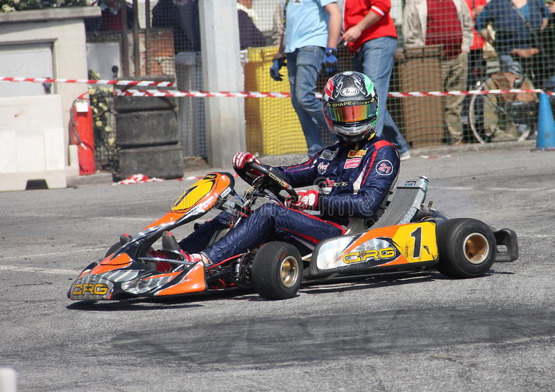Kart race. In Chiavari valid for the Regional Championship royalty free stock photos