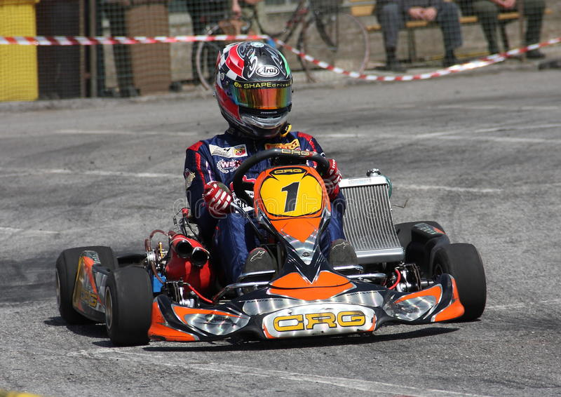 Kart race. In Chiavari valid for the Regional Championship stock images