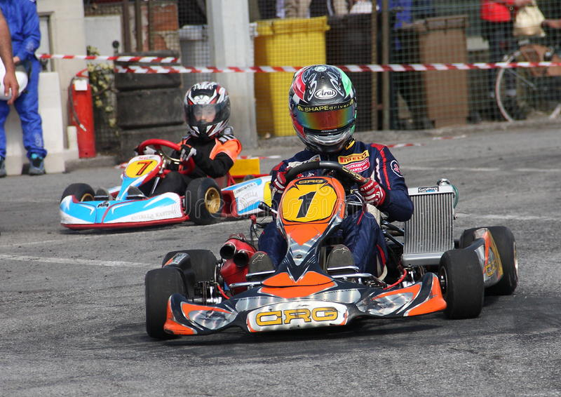 Kart race. In Chiavari valid for the Regional Championship royalty free stock images
