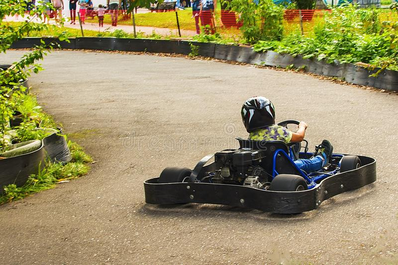 Go Kart Racer on the road in nature royalty free stock photo