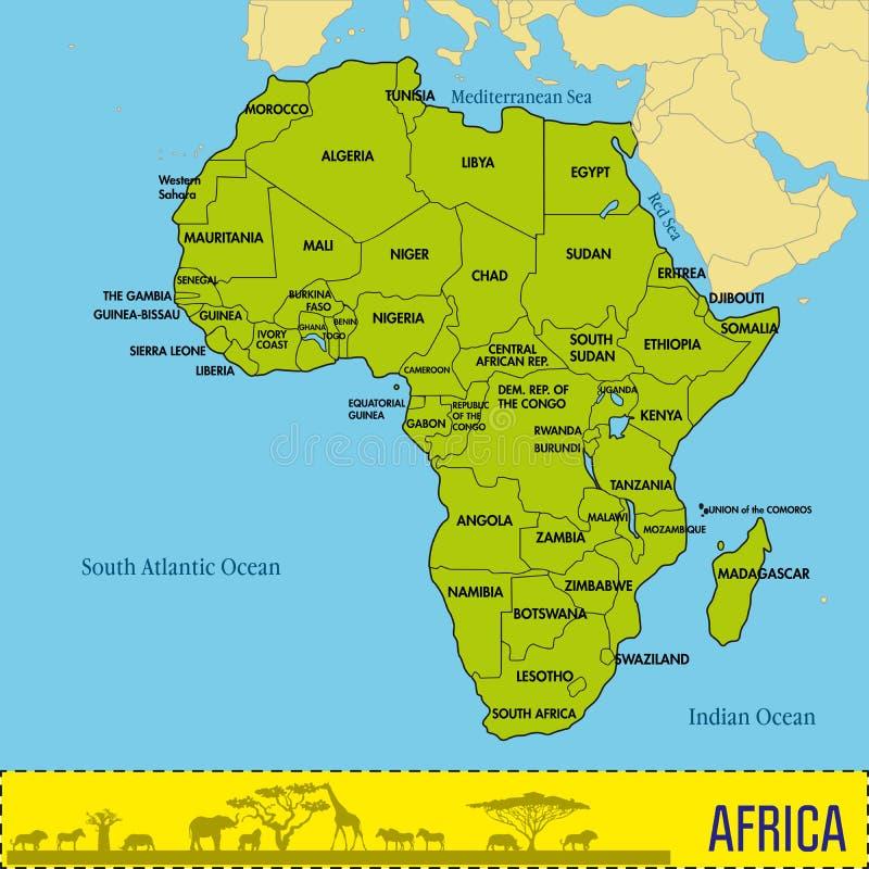 Oversikt Av Afrika Med Alla Lander Och Deras Huvudstader Vektor