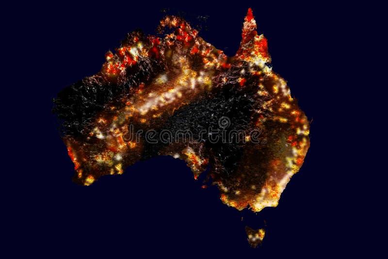 Karta över Australiens vilda bränder från rymden Konstnärlig representation, form av kontinent från NASA-bild arkivbilder