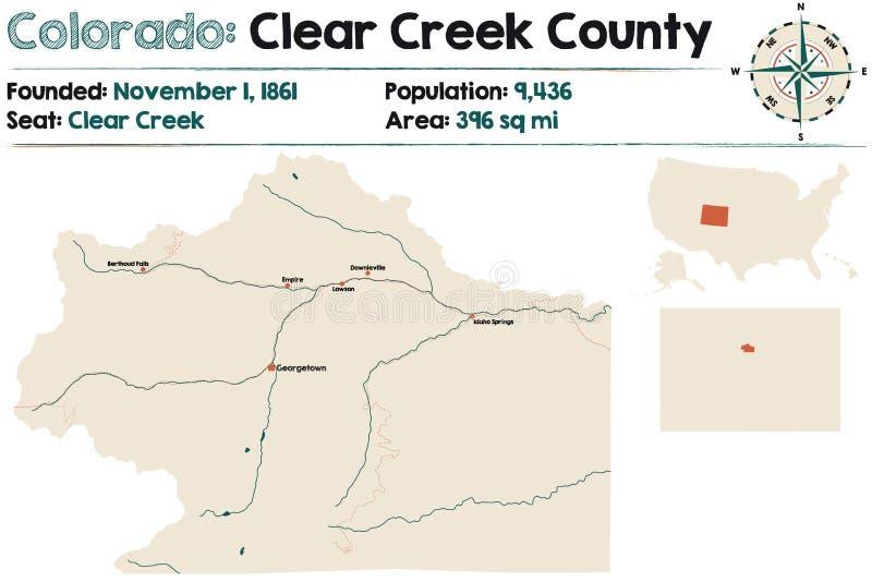 Karta över Clear Creek County i Colorado vektor illustrationer