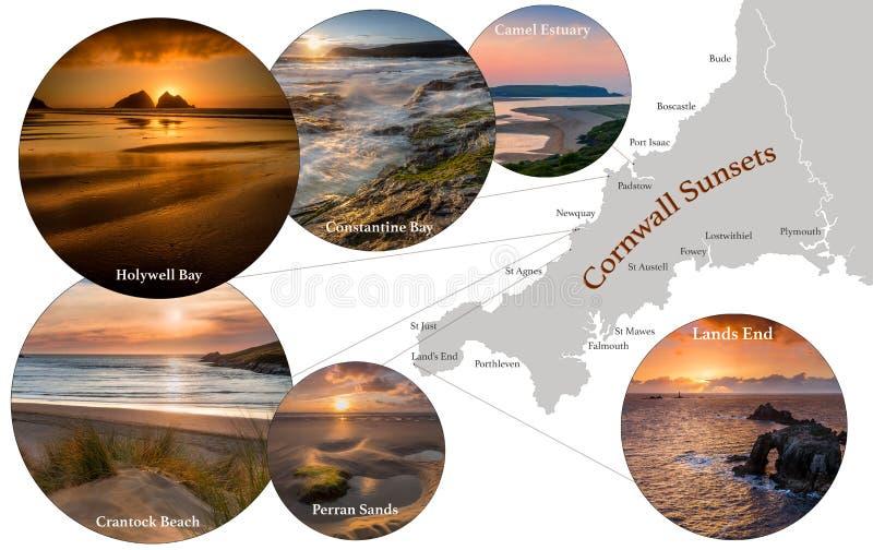 Karta över Cornwall, med fotografiska bilder av Cornish Sunset i Constantine Bay, Lands End, Perran Sands, Holywell Bay, Camel arkivbild