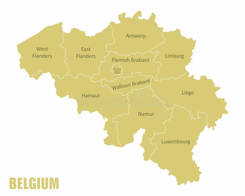 Karta över regioner i Belgien royaltyfri illustrationer