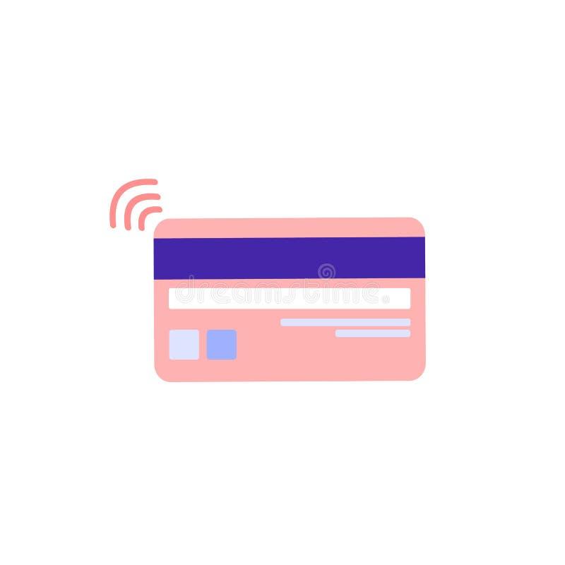 Karta bankowa z tyłu z taśmą magnetyczną i paskiem z kodem Bezdotykowa płatność za zakupy Izolowana ilustracja wektora kolorów ilustracja wektor