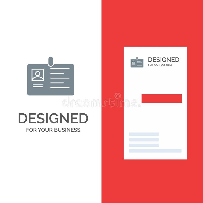 Karta, biznes, Korporacyjny, Id, ID karta, tożsamość, przepustka logo Popielaty projekt i wizytówka szablon, ilustracja wektor