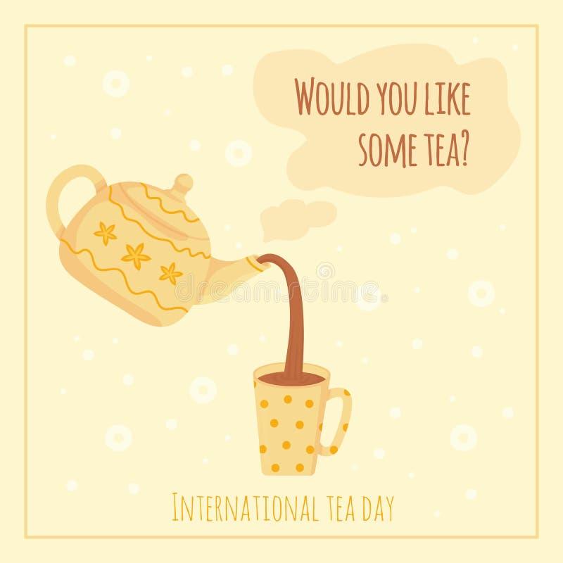 Karta Cozy International Tea Day, grudzień 15 r. Nalej aromatyczną herbatę z pomalowanej czajki Koncepcja świąt herbaty Woud royalty ilustracja