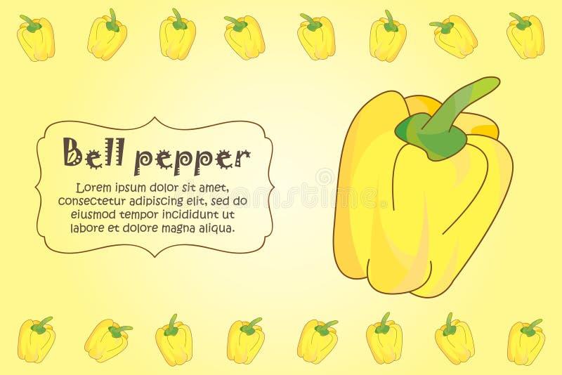 Karta dla kuchennych notatek Puste miejsce z żółtym dzwonkowego pieprzu ornamentem Kuchni karta ? ilustracji