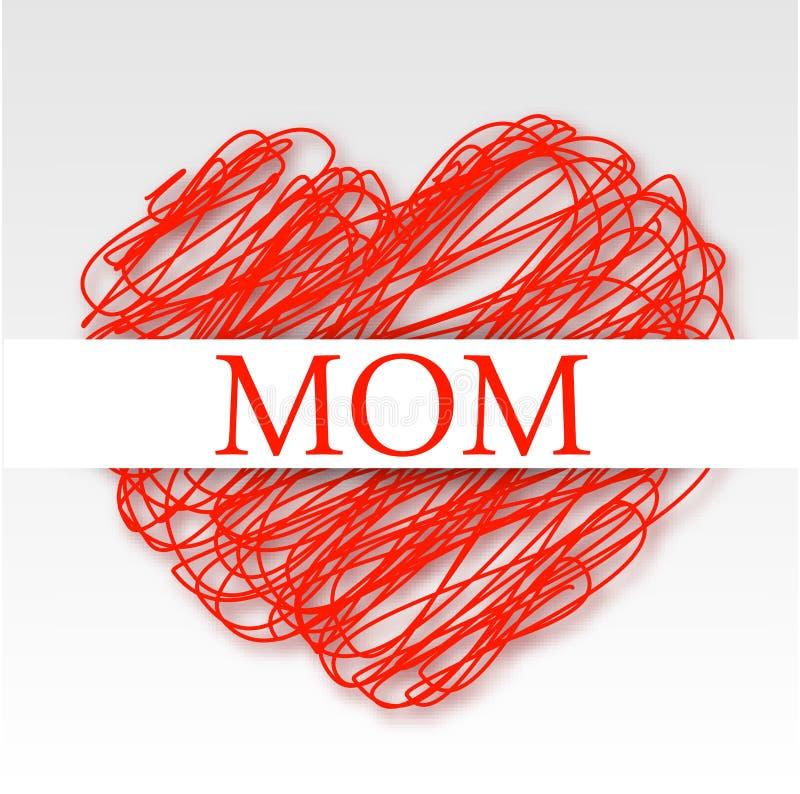 Karta dla mamy na czerwieni nabazgranym sercu ilustracja wektor