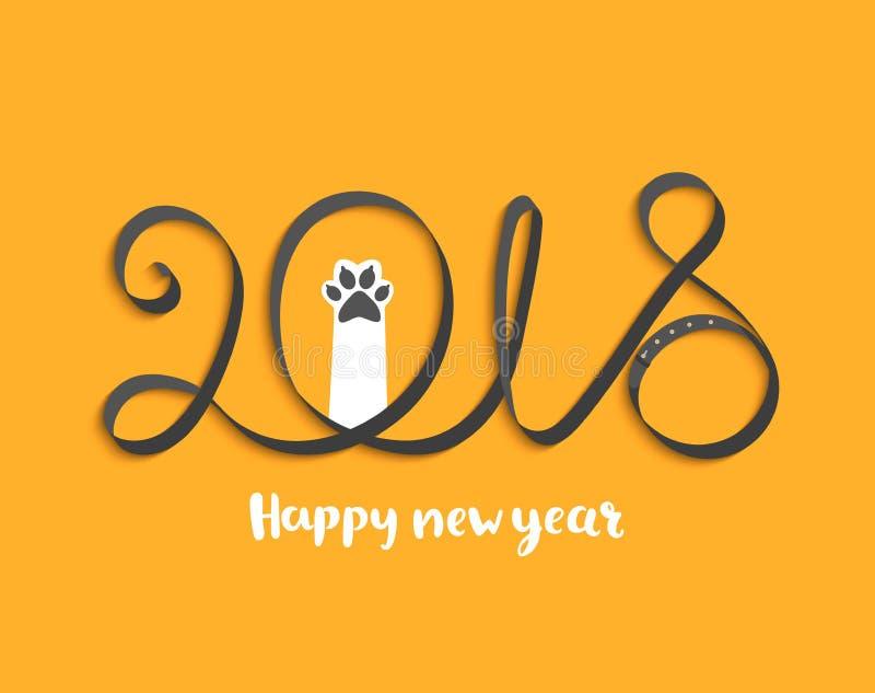 Karta dla 2018 rok z szczeniak łapą ilustracji