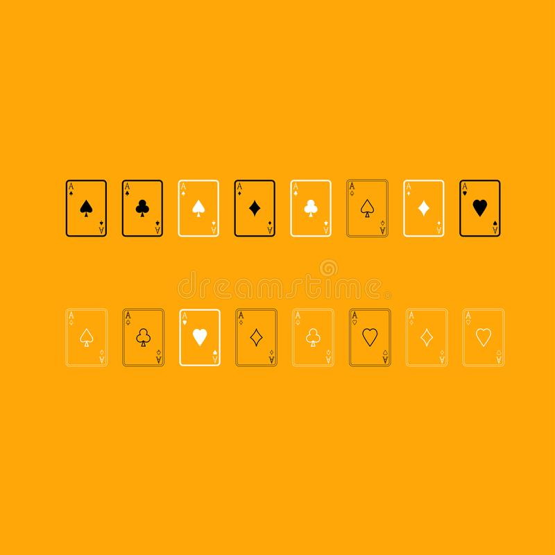 Karta do gry czarny i biały ustalona ikona ilustracja wektor