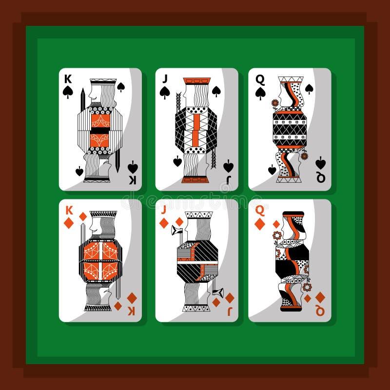 Karta do gry grzebaka królewiątka, królowa diament i rydel zielony tło i ilustracja wektor