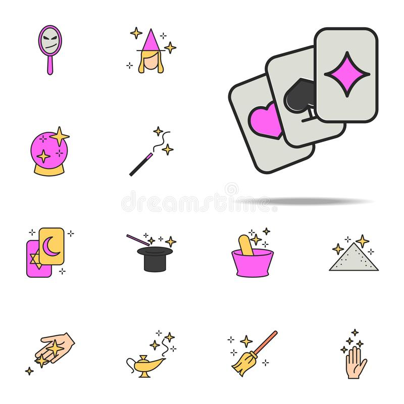 Karta do gry ikona magiczny ikony ogólnoludzki ustawiający dla sieci i wiszącej ozdoby ilustracji