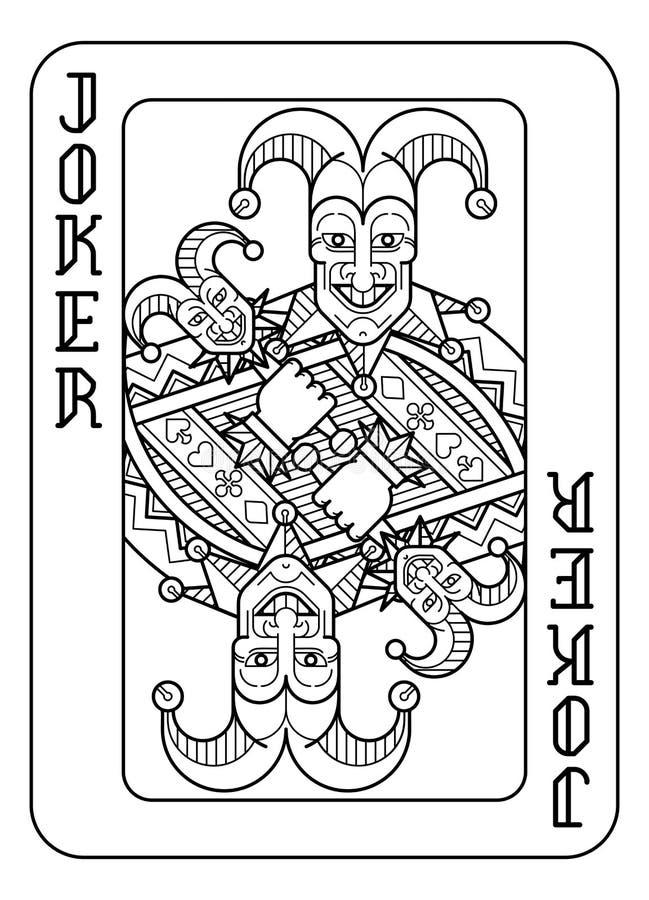 Karta Do Gry joker Czarny I Biały ilustracja wektor