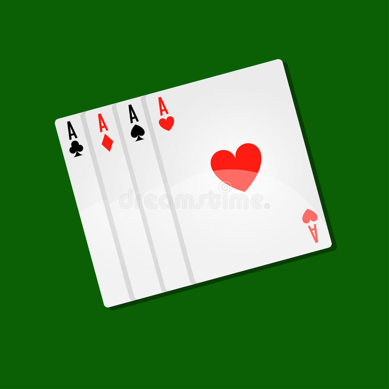 Karta do gry kasynowy grzebak z as kombinacją dla pasjans gemowych wektorowych ikon royalty ilustracja