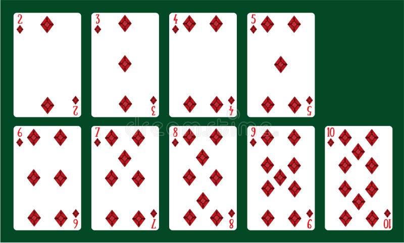 Karta do gry kostiumy diamenty od 20 10 Pokład karty royalty ilustracja