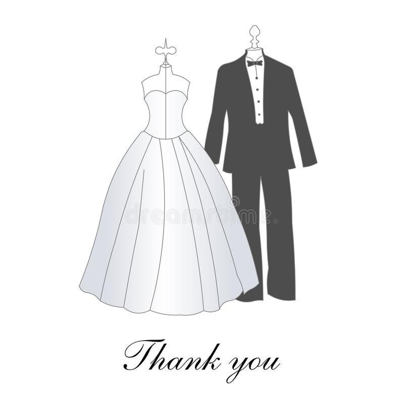 karta dziękować ślub ty ilustracji
