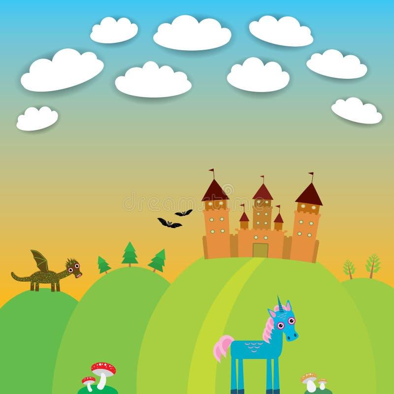 Karta krajobraz z grodowym czarownikiem, kreskówka smok ilustracji