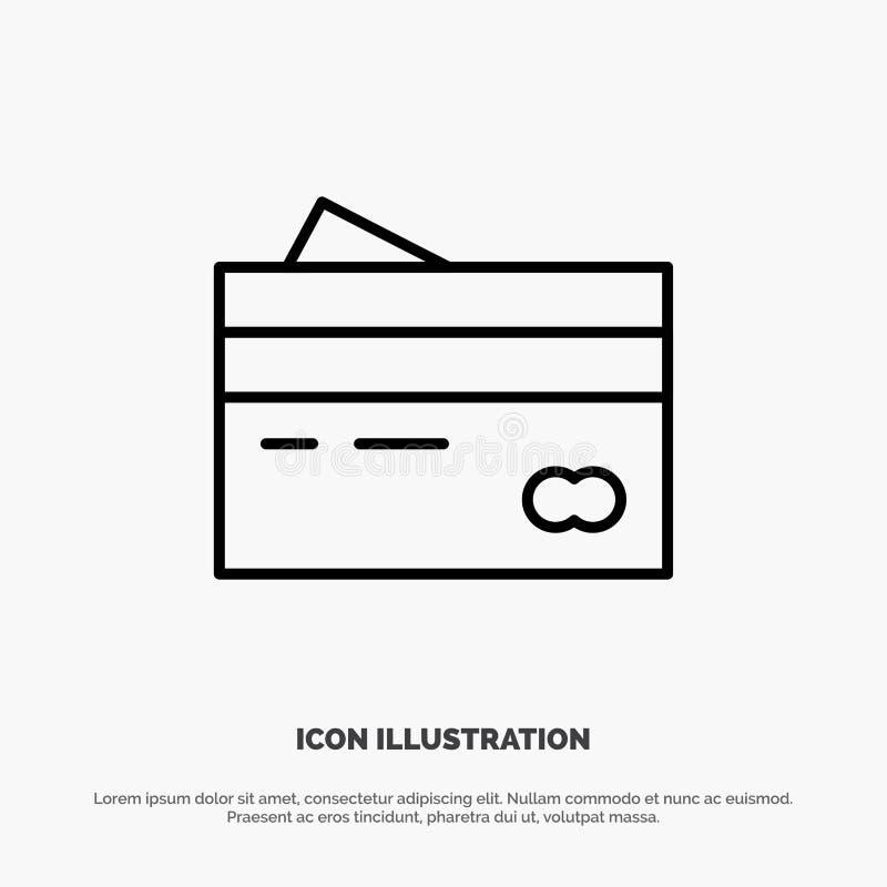 Karta kredytowa, bankowość, karta, karty, kredyt, finanse, pieniądze, zakupy ikony Kreskowy wektor ilustracji