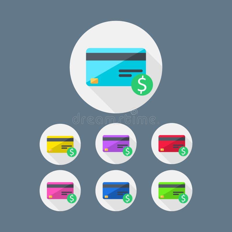 Karta kredytowa, kolor paczka, finanse, biznes, wektor, Płaska ikona ilustracja wektor