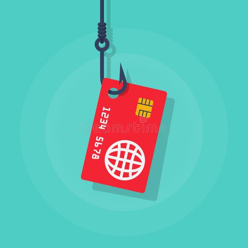 Karta kredytowa na haczyku ilustracja wektor