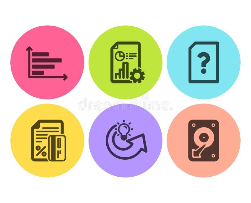 Karta kredytowa, Niewiadoma kartoteka i Raportowe ikony ustawiająca, Horyzontalna mapa, Dzieli pomysł i Hdd znaki wektor ilustracji