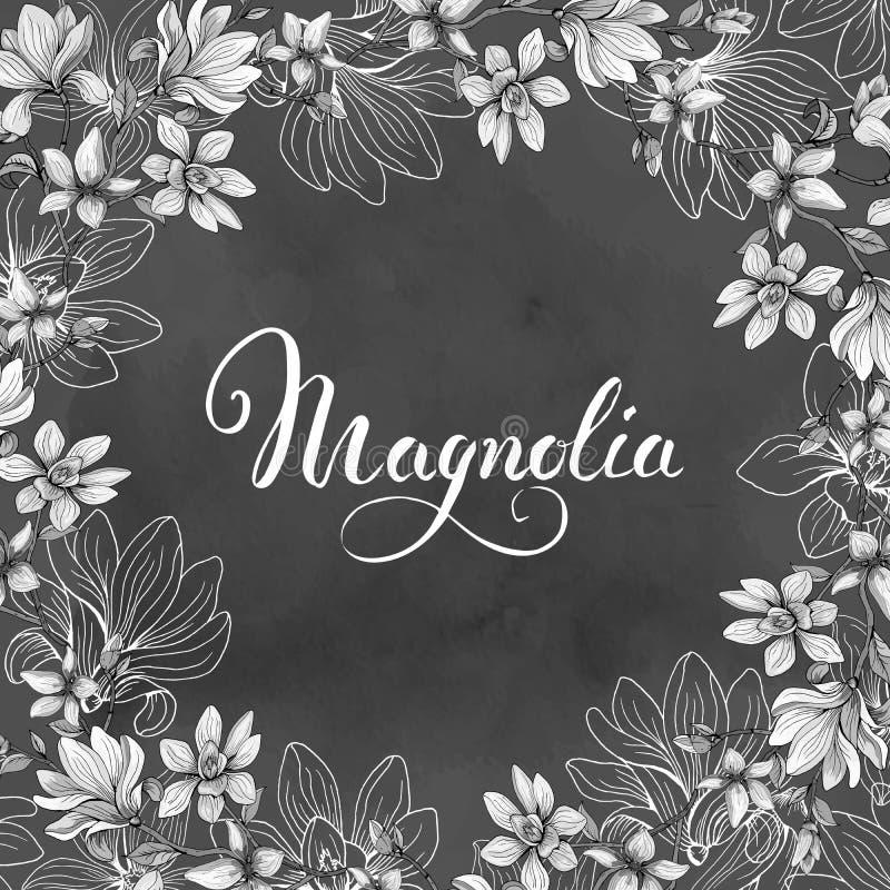 karta kwitnie powitanie magnolii szczegółowy rysunek kwiecisty pochodzenie wektora również zwrócić corel ilustracji wektora royalty ilustracja