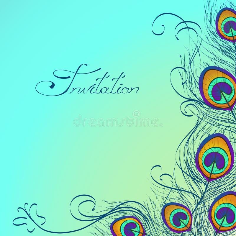 Karta lub zaproszenie z pawi piórek dekoracją ilustracja wektor