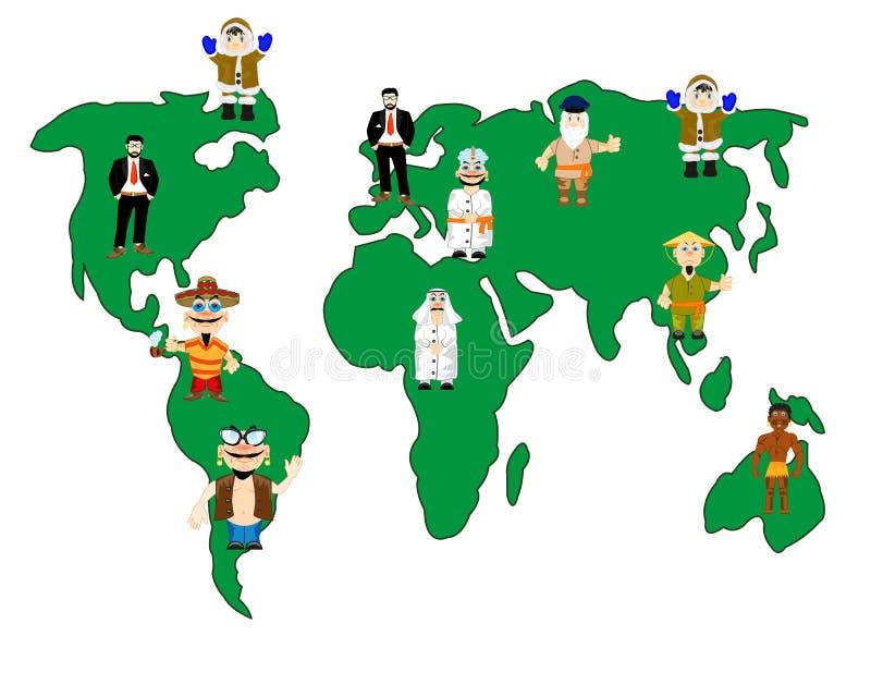 Karta lud i świat ilustracja wektor