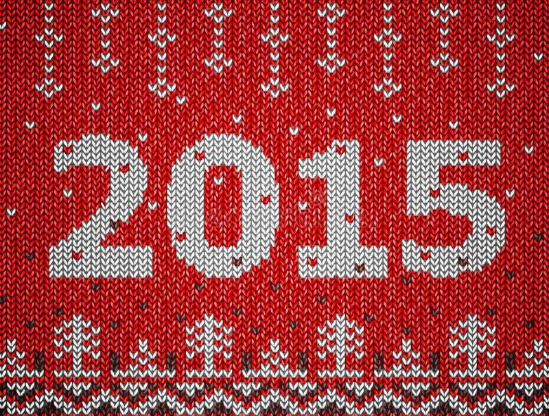 Karta nowy rok 2015 z trykotową teksturą ilustracja wektor