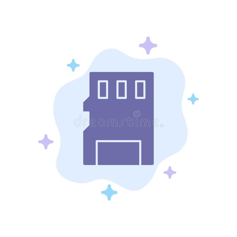 Karta, pamięć, karta pamięci, SD Błękitna ikona na abstrakt chmury tle ilustracja wektor