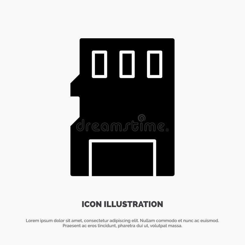 Karta, pamięć, karta pamięci, SD glifu ikony stały wektor ilustracja wektor