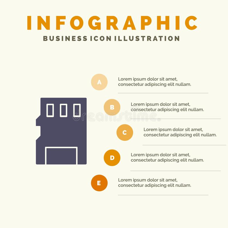 Karta, pamięć, karta pamięci, SD ikony Infographics 5 kroków prezentacji Stały tło ilustracji