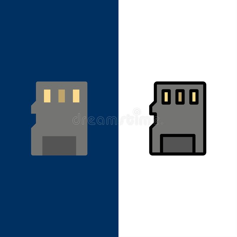 Karta, pamięć, karta pamięci, SD ikony Mieszkanie i linia Wypełniający ikony Ustalony Wektorowy Błękitny tło royalty ilustracja