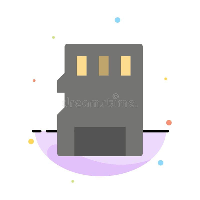 Karta, pamięć, karta pamięci, SD koloru ikony Abstrakcjonistyczny Płaski szablon ilustracji