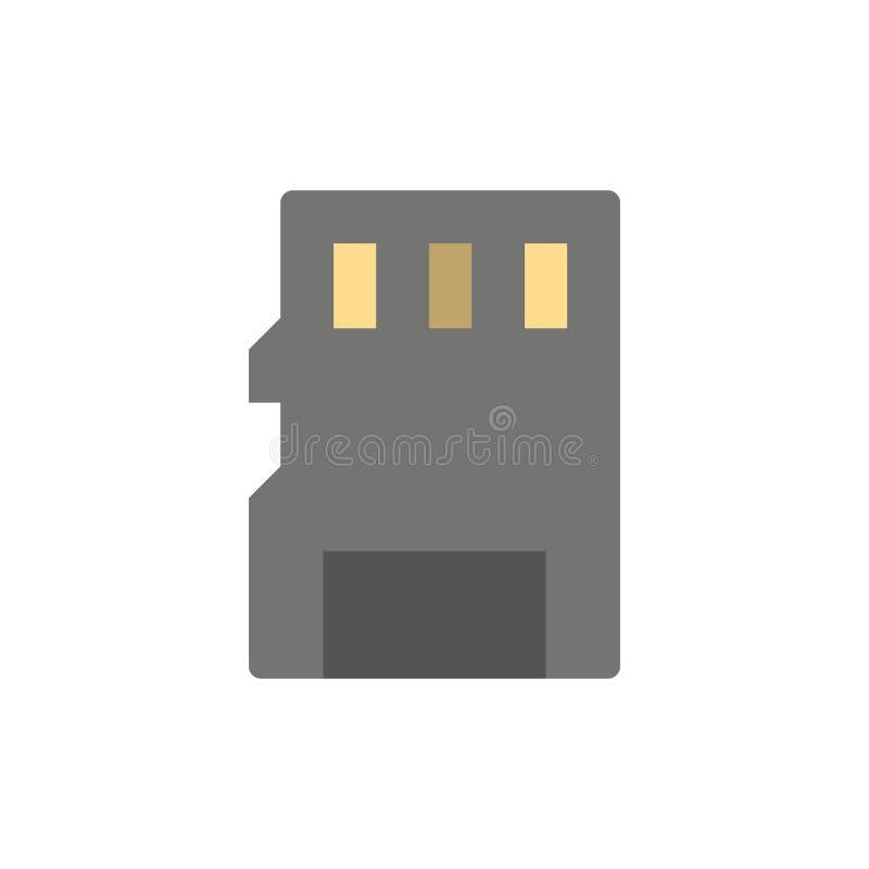 Karta, pamięć, karta pamięci, SD koloru Płaska ikona Wektorowy ikona sztandaru szablon ilustracji