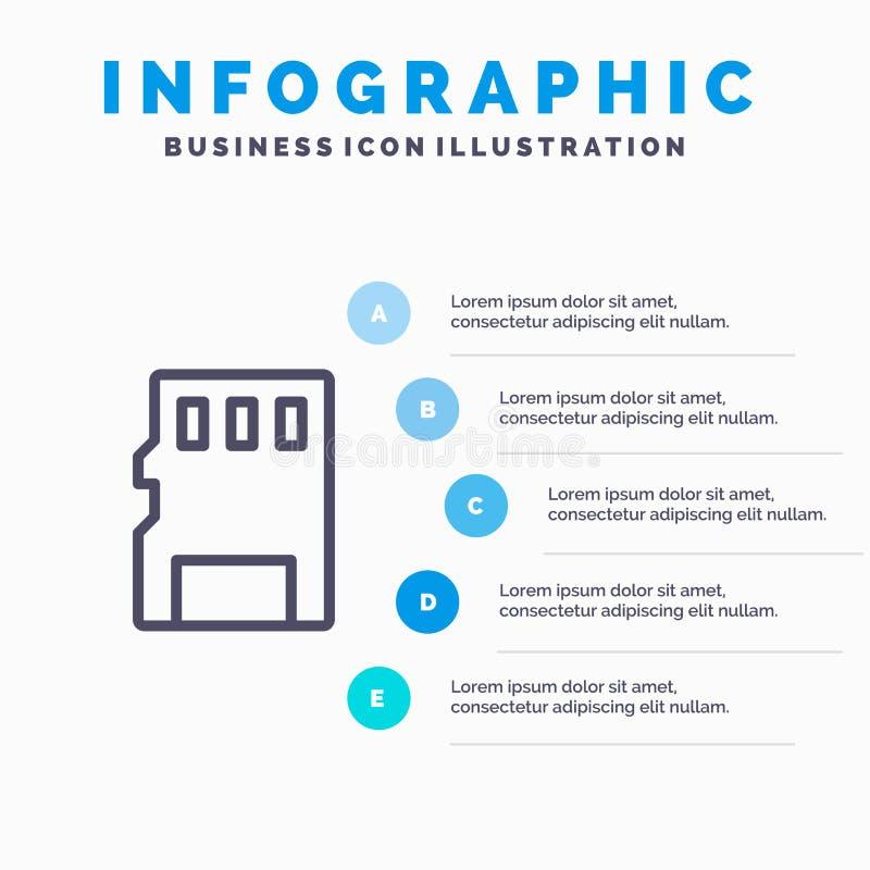 Karta, pamięć, karta pamięci, SD Kreskowa ikona z 5 kroków prezentacji infographics tłem ilustracja wektor