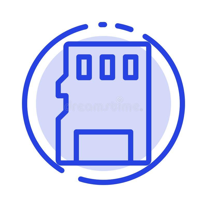 Karta, pamięć, karta pamięci, SD linii linii błękit Kropkująca ikona ilustracji