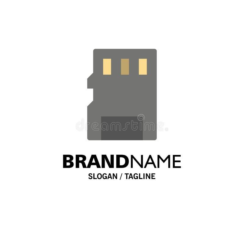 Karta, pamięć, karta pamięci, SD logo Biznesowy szablon p?aski kolor ilustracji