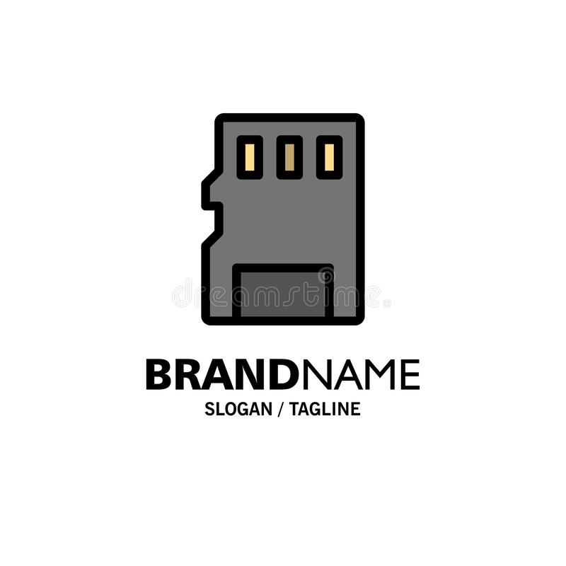 Karta, pamięć, karta pamięci, SD logo Biznesowy szablon p?aski kolor ilustracja wektor