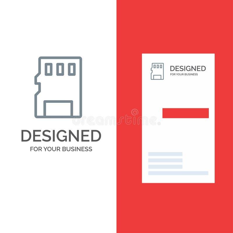 Karta, pamięć, karta pamięci, SD logo Popielaty projekt, i wizytówka szablon ilustracji