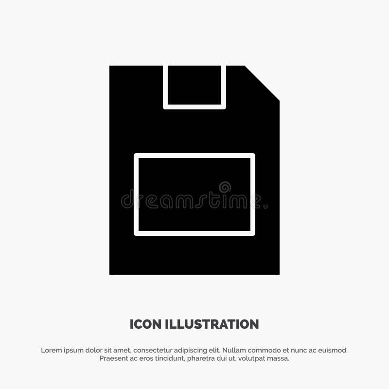 Karta, karta pamięci, magazyn, dane glifu ikony stały wektor royalty ilustracja