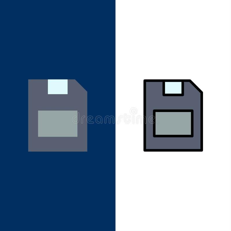 Karta, karta pamięci, magazyn, dane ikony Mieszkanie i linia Wypełniający ikony Ustalony Wektorowy Błękitny tło royalty ilustracja