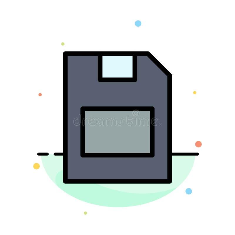 Karta, karta pamięci, magazyn, dane koloru ikony Abstrakcjonistyczny Płaski szablon ilustracja wektor