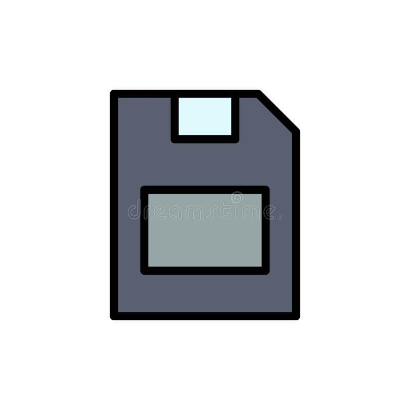 Karta, karta pamięci, magazyn, dane koloru Płaska ikona Wektorowy ikona sztandaru szablon ilustracja wektor
