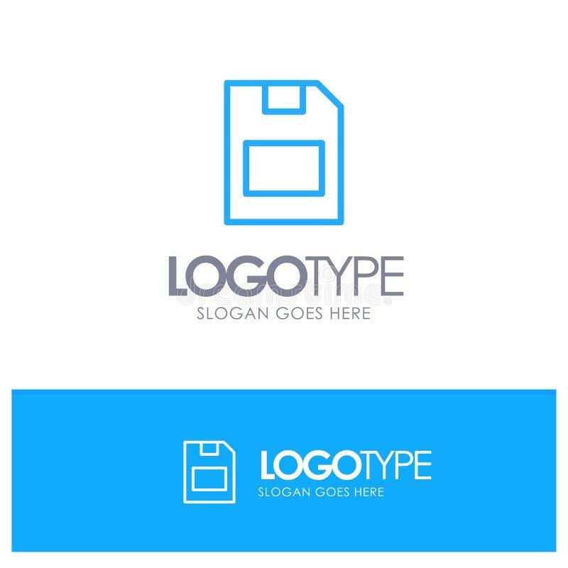 Karta, karta pamięci, magazyn, dane konturu logo Błękitny miejsce dla Tagline ilustracji